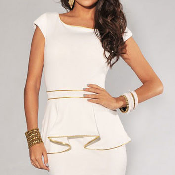 White Sleeve Gold Trim Peplum Dress