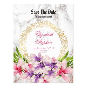 Watercolor Magnolias, Faux Marble Save the Date Postcard