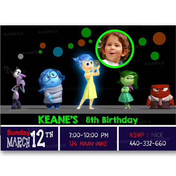 Inside Out Original Glow In The Dark Colorful Kids Birthday Invitation Party Design