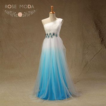 Real Photo One Shoulder Blue Ombre Bridesmaid Dress Crystal Beaded Floor Length BOHO Maid of Honor Dress Custom Made