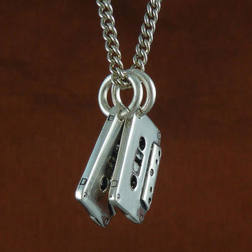 "Cassette Tape Necklace Antique Silver Cassettes on 24"" Antique Silver Chain"