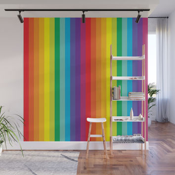 Rainbow Stripes Wall Mural by starflyer