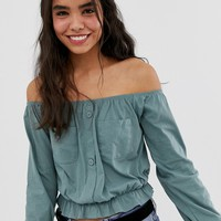 ASOS DESIGN bardot top with utility pockets | ASOS