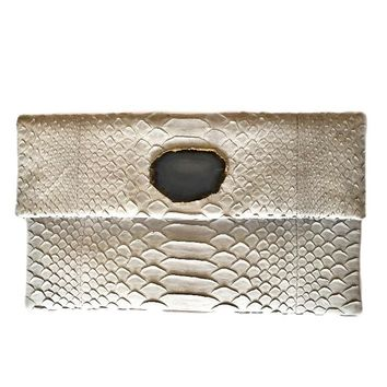 Abella Light Grey Python Clutch Handbag