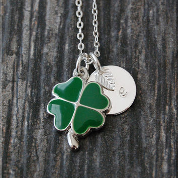 Silver Heart Shamrock Necklace, Initial Charm Necklace, Personalized Necklace, Lucky Charm, Shamrock pendant, 4 Leaf Clover Necklace