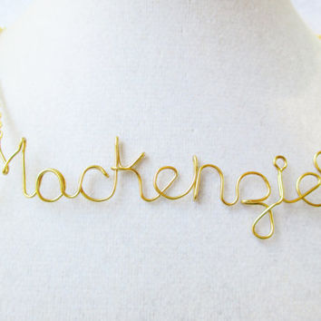 Personalized Wire Name Necklace In Gold Or Silver