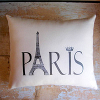 Paris Pillow Eiffel Tower Crown French Decor by parismarketplace