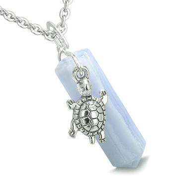 Amulet Turtle Lucky Charm Crystal Point Blue Lace Agate Pendant 18 Inch Necklace