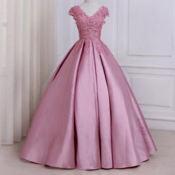 Pink Evening Dresses Cap Sleeve Applique Beaded Floor Length Party Formal Dress