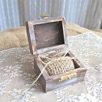 Burlap Rustic Ring Bearer Pillow Box - Rustic Weddings (RB-1)