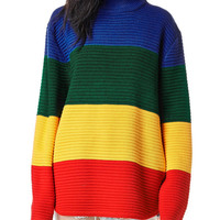 Color-block Long Sleeve Sweater -SheIn(Sheinside)