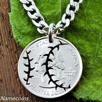 Baseball Necklace, Sports Jewelry, Hand Cut Coin