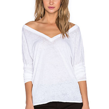Double V Long Sleeve Dolman Tee in White