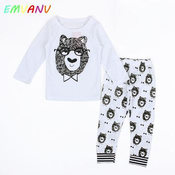 2017 New Autumn style Cotton little monsters Long sleeve infant clothes tops+pants 2 pcs baby clothing sets baby boy clothes