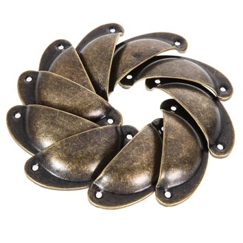 10pcs Antique Shell Pull Handle Retro Metal Kitchen Drawer Cabinet Door Handle Antique Brass Cupboard Knob Furniture Shell