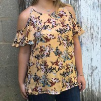 Floral cold shoulder ruffle top
