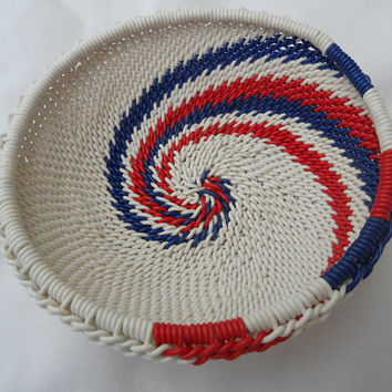 African Zulu Wire Basket Red White and Blue by AppleCreekCrafts