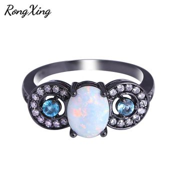 White Fire Oval Opal Ring Black Gold Filled Lake Blue CZ