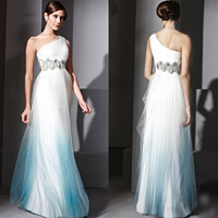 Divine White Blue Tulle One Shoulder Second Wedding Evening Gowns SKU-122461