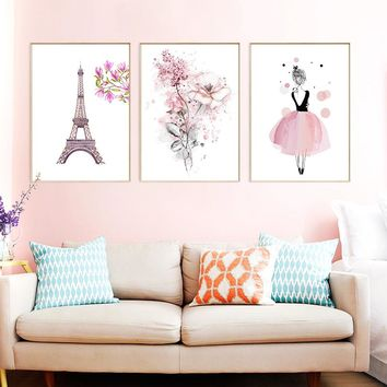 Nordic Pink Fashion Poster Art Print Paris Tower Picture Dancing Girl Flower Canvas Painting Wall Decor Children Room Or Bedroom