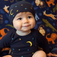 Long Sleeve Navy Blue Bodysuit and Hat Gift Set, Moon and Stars theme, American Apparel, Cute baby, Adorable baby gift, Baby Shower gift