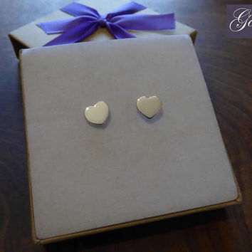 Two Silver Heart Earrings - Heart Studs - Handmade Love Earrings - Cute Silver Earrings