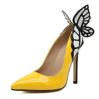 Butterfly High Heel Pointed Toe Shoes = 4814668036