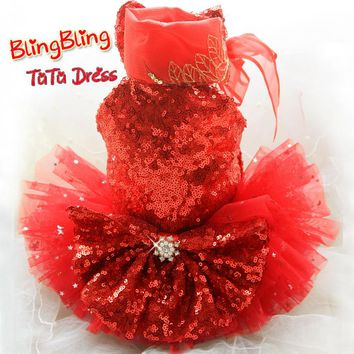 Custom Beautiful red embroidery sequin star soft tulle high collar dog dress evening  skirt pet clothing