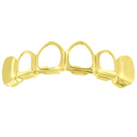Top Teeth Mouth Grillz Cut Out Yellow Gold Finish