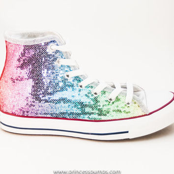 708f0fae35dd Sequin Rainbow Multi Colors Custom Canvas Converse Hi Top Sneakers Shoes