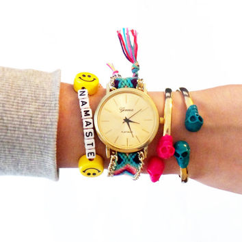 Friendship Bracelet Womens Watch / Gold Watch / Arm Party Watch / Woven Watch / Wrist Watch