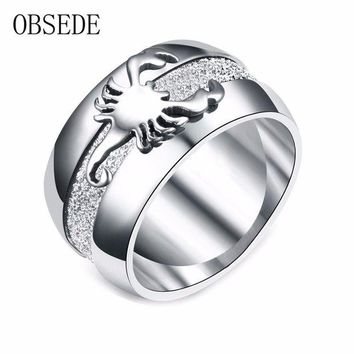 ac spbest OBSEDE Punk Stainless Steel Ring Scorpion Signet for Men Women Silver Color Jewelry for Wedding Party Gift Charm Fashion Gift