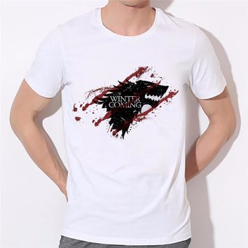 Game of Thrones Wolf T-shirt Stark Winterfell Tee shirt Winter is coming Fitness Casual Streetwear T shirt 33N-5#