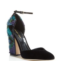 Sergio RossiChantal Embellished d'Orsay Ankle Strap Pumps