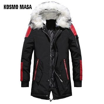 KOSMO MASA Black Long Man Winter Jacket Men Warm Military Fur Hooded 2018 Mens Jackets And Coats Zipper Down Men Parkas MP029