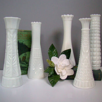 Wedding Decor, Milk Glass Vase, Set of 5, Vintage Inspired Wedding, Country Rustic Wedding, Home Decor, Instant Collection