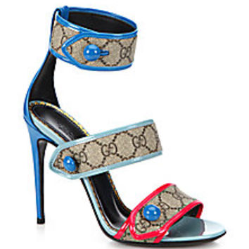 Gucci - Harleth Logo Canvas & Patent Leather Strappy Sandals<br> - Saks Fifth Avenue Mobile