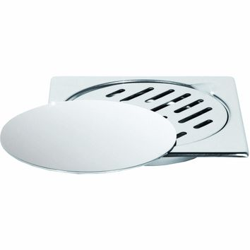 """ME Steel Aisi 304 Shower Floor Drain 5.9""""x5.9"""" Removable Cover Polished Chrome"""