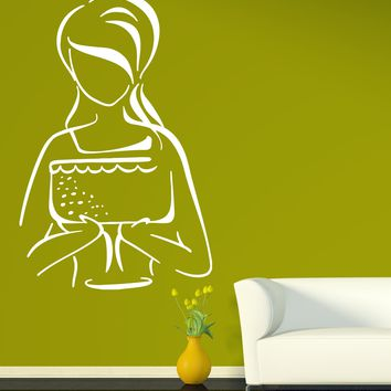 Vinyl Decal Beautiful Woman Portrait Wall Sticker Woman Pastry Sweets Cake Candy Celebration Unique Gift (n458)
