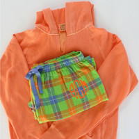 Monogrammed Pajama Set Flannel Pants and Hoodie Green and Orange  Christmas Gift Set