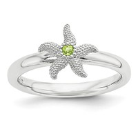 Sterling Silver Stackable Expressions Peridot Starfish Ring