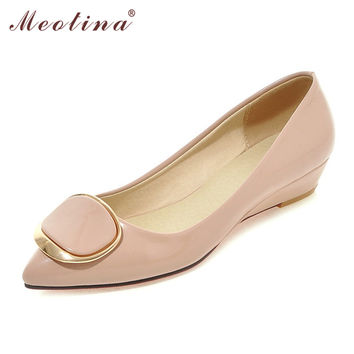 Meotina Wedges Lady Shoes Wedge Heels Bridal Wedding Shoes Low Heels Pumps Ladies Wedge Heels Pink White Big Size 9 10 40 42 43