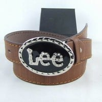 Cheap Lee Genuine Leather belts woman's and men's Business Waistband Belt Luxury Casual fashion Belt sale-843368361