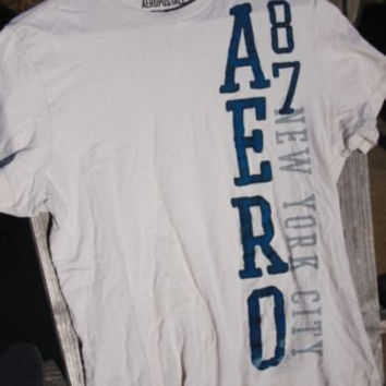 Aeropostale Blue Letters Graphic Tee T-Shirt ~Mens M~