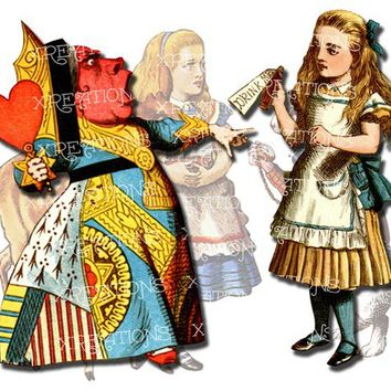 Alice in Wonderland characters colored cutouts, paper dolls - digital collage sheet