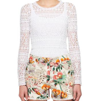 Isabel Marant Yulia Long-Sleeve Stretch Lace Sweater