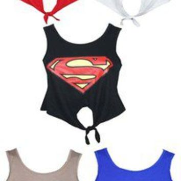 NEW WOMENS LADIES SUPERWOMAN CROP TOP T SHIRT VEST SIZE 8 10 12 14