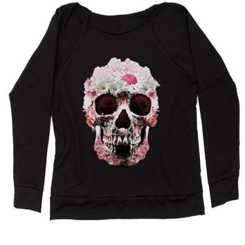 Daisy Skull Slouchy Off Shoulder Oversized Sweatshirt