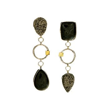 Black and White Triple Stack Druzy Earrings
