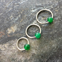 "Green Jade 16g (1.2mm) (3 Sizes ! 5/16"" , 3/8"" , 7/16"" ) Captive Bead Rings CBR Earring Cartilage Helix Tragus Orbital Jewelry Hoop"